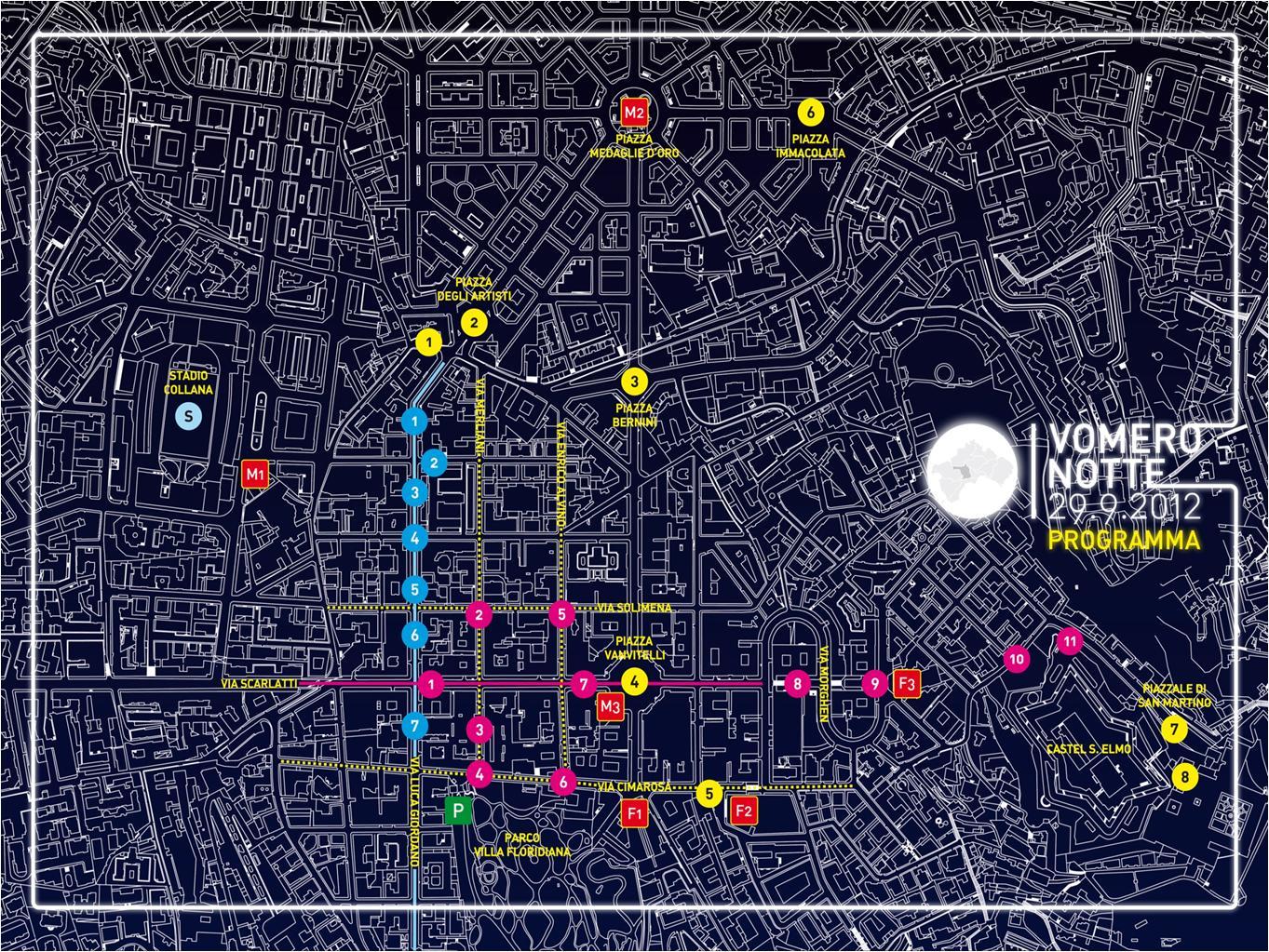 Cartina Vomero Napoli.Mappa Vomero Notte
